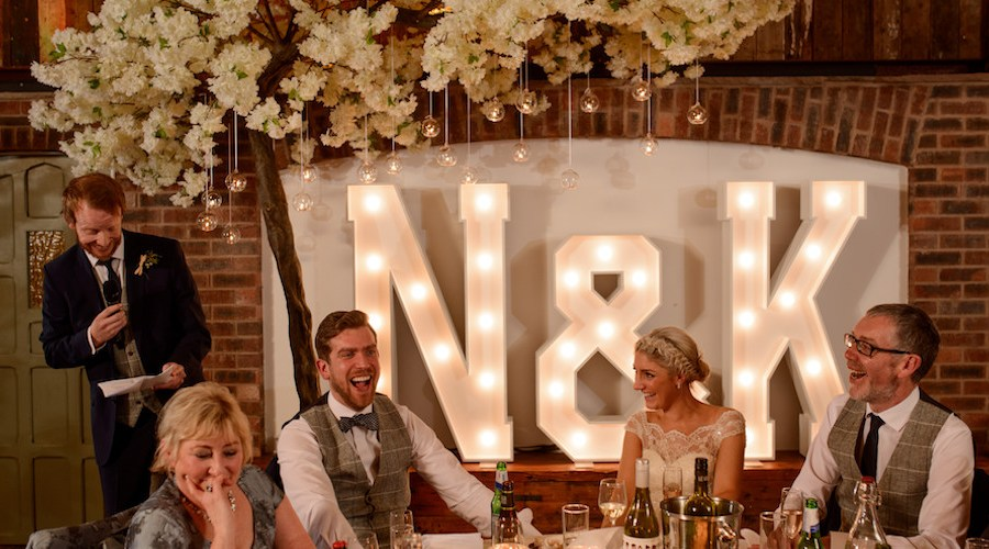 N & K light up letters at Owen House Wedding Barn Cheshire