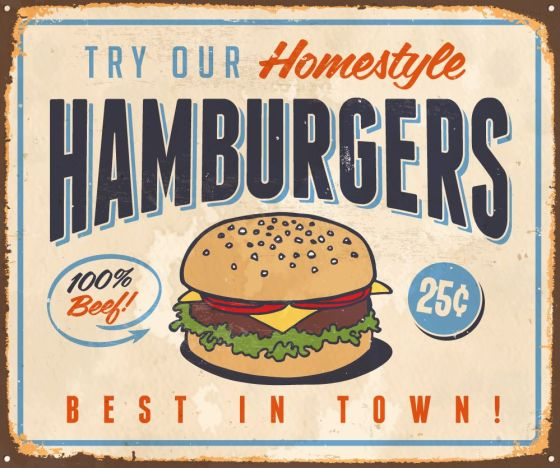 Vintage Metal Sign - Try Our Homestyle Hamburgers