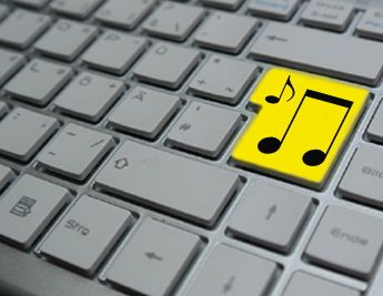 Keyboard with musical note
