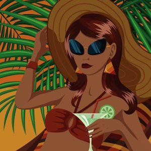 Cartoon image of lady on the beach