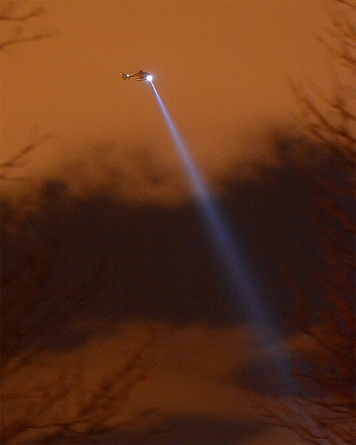 Helicopter shining beam of light