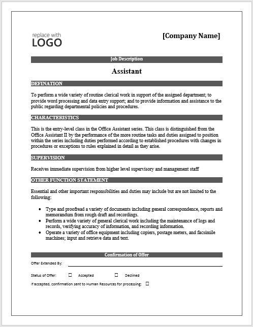 Description Template 2010 Job Word