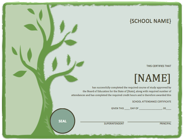 School Attendance Certificate Template – Microsoft Word