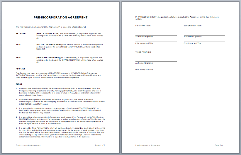 partnership contracts templates free