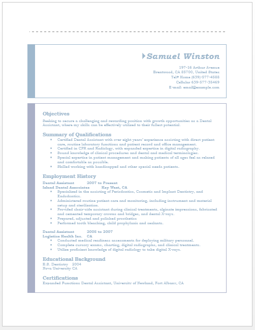 word template dental assistant resume