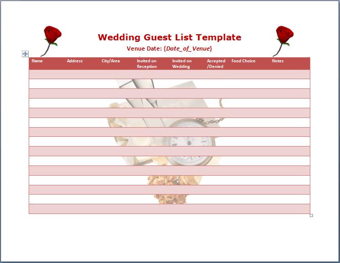 Wedding Guest List Template Word Templates