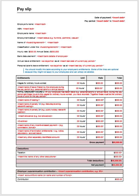 5 Free Printable Salary Slip Templates - Word Templates