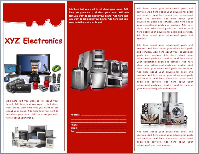 Electronics Sales Brochure Template Word Templates Brochure Design - Sales brochure template