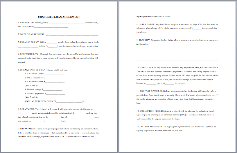 Download employee loan agreement for free. 20 Free Consumer Loan Agreement Templates In Ms Word Templates