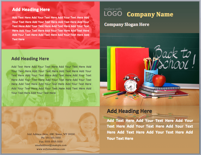 Back To School Brochure Template Word Templates