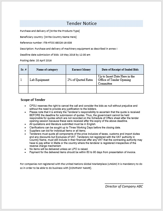 Tender Notice Template Format And Sample Word Templates
