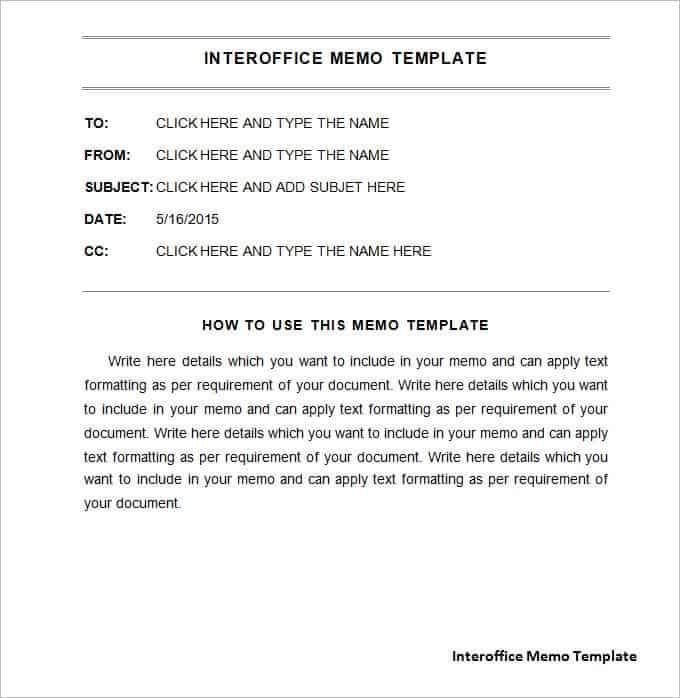 interoffice memo template free