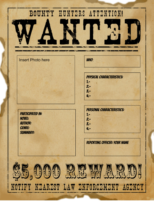 Eloquent image for wanted poster template printable