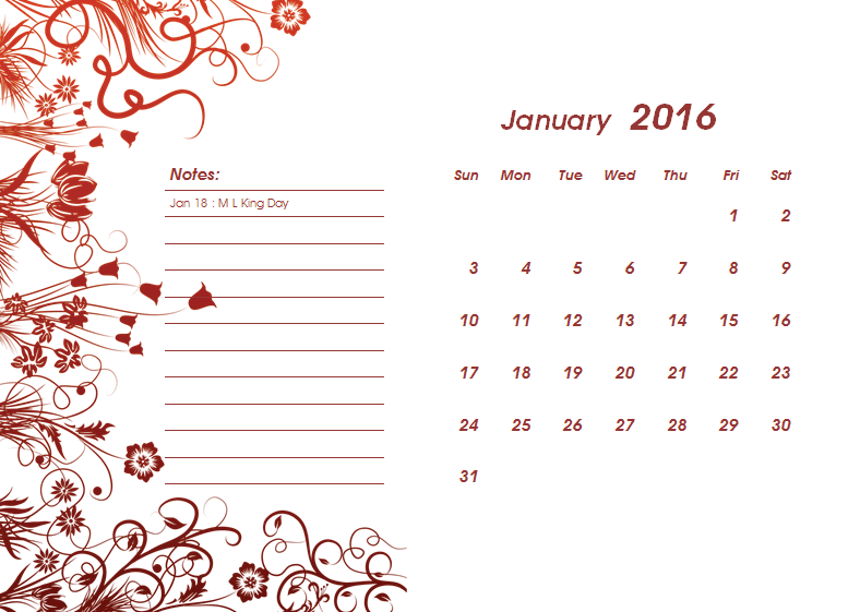 blank calender template