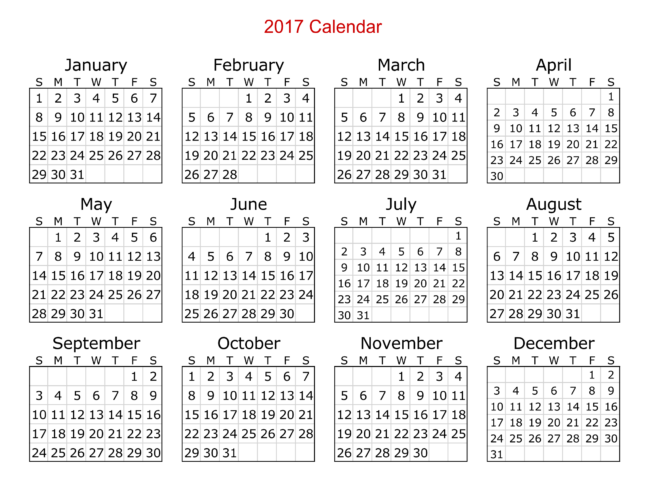 2017 Calendar Templates  8  Weekly  Monthly Word