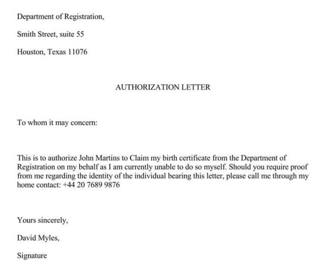 Authorization Letter For Claiming Birth