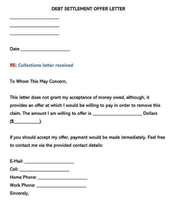 """______________ with a mailing address of______________, city of______________, state of______________ shall be known as the """"creditor"""". Debt Settlement Offer Letter Samples Templates Word Pdf"""