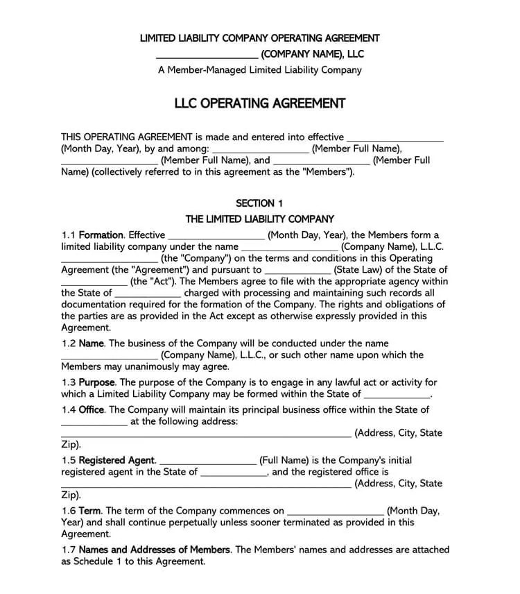 An explanation of the llc business form, including llc taxation, common myths, and how to form an llc in one or more states. Free Multi Member Llc Operating Agreement Templates By State