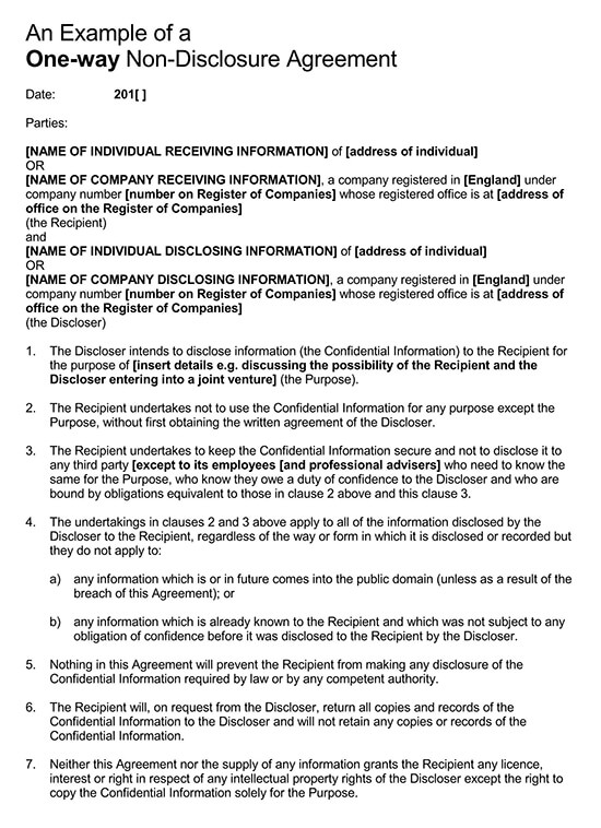 The discloser intends to disclose information (the confidential information) to the recipient for the purpose of [insert details e.g. Free Unilateral 1 Way Non Disclosure Agreement Template Word Pdf