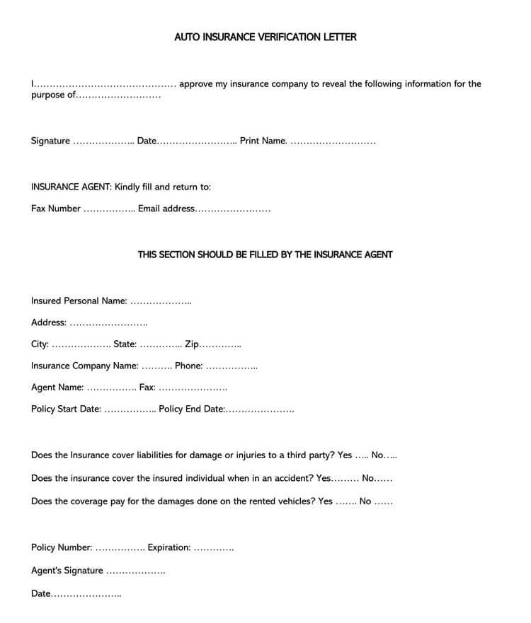 Auto Insurance Verification Letter Sample Letter Template