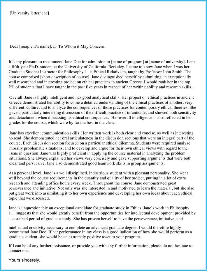 letter for teacher from student