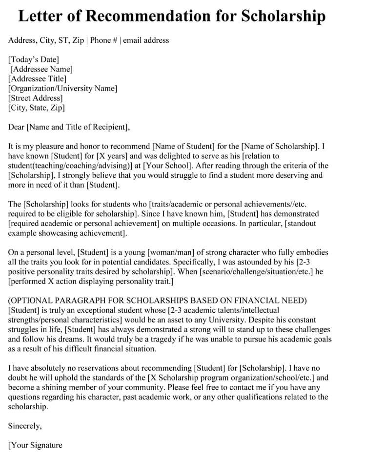 letter or recommendation for teacher