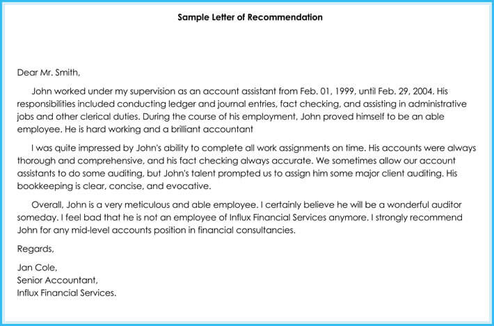 letter of recommendation for bookkeeper