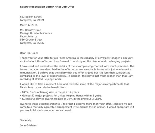 sample salary letter