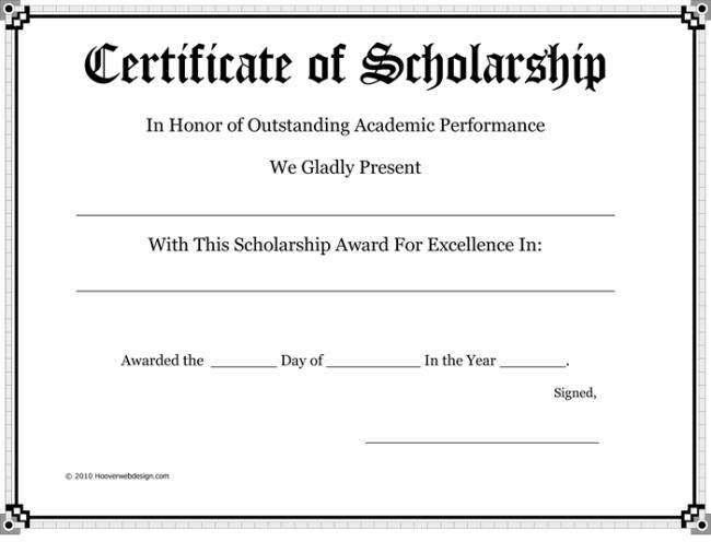 scholarship certificate sample
