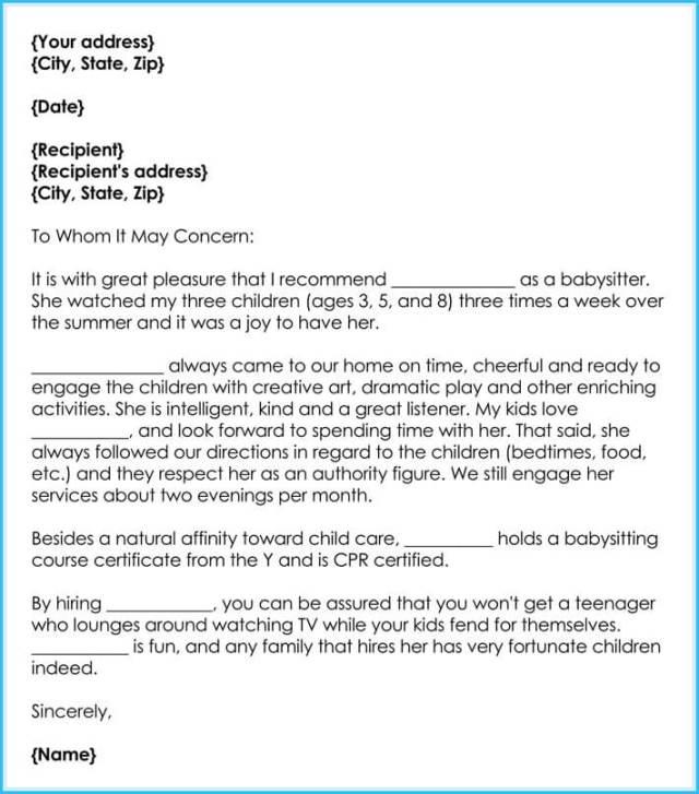 Babysitter Reference Letter Writing