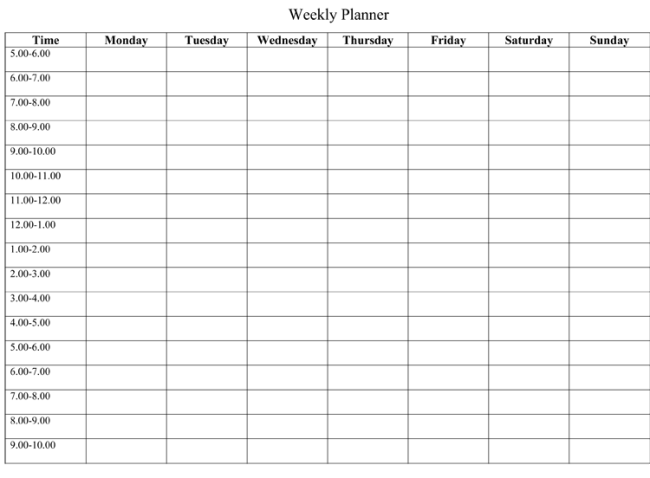 Printable Blank Calendars Weekly Name Templates Insert