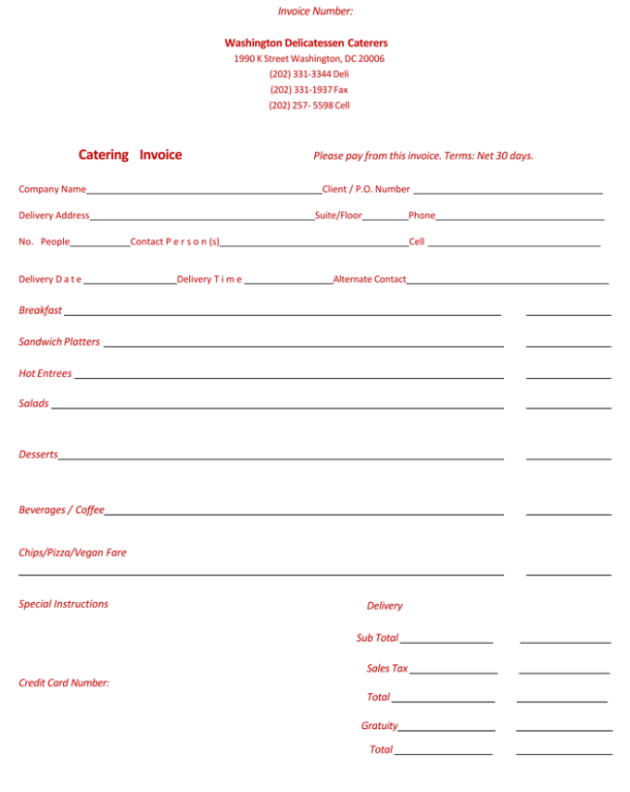 Catering Invoice Example for Word