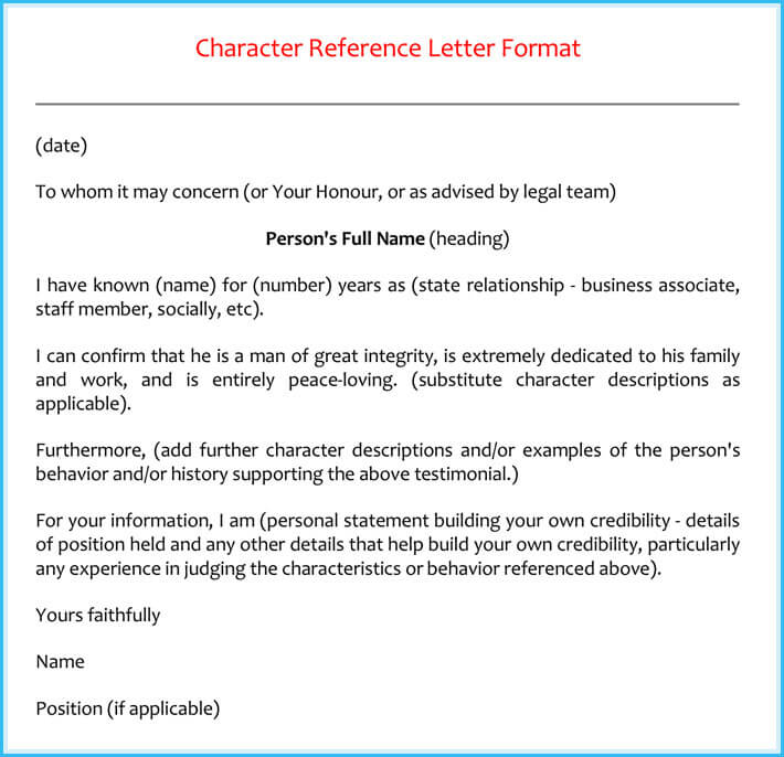 Letter Sample Reference Character Friend Letter