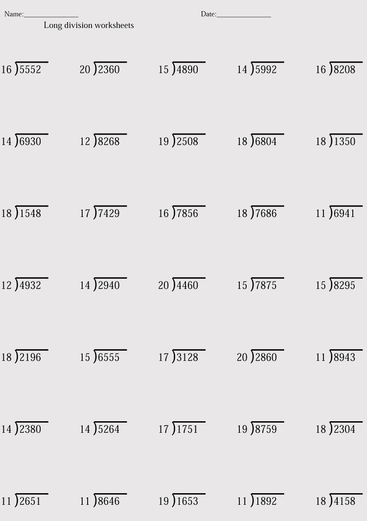 medium resolution of Printable Division Worksheets (for Grade 4-6) - Free Downloads