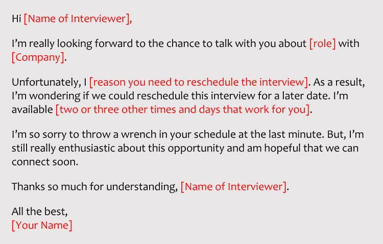 Best Sample Email To Reschedule Interview From Employer