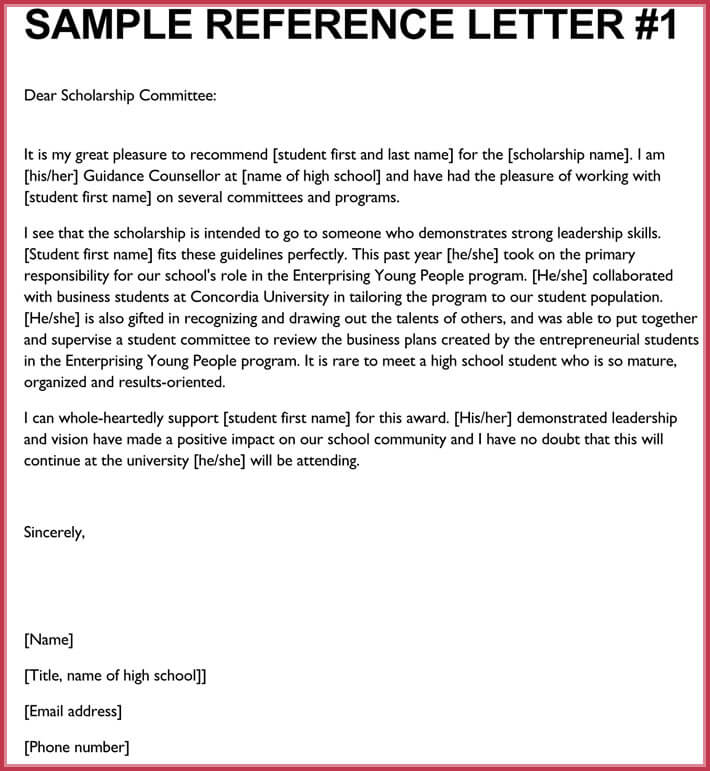 student letter of recommendation for scholarship