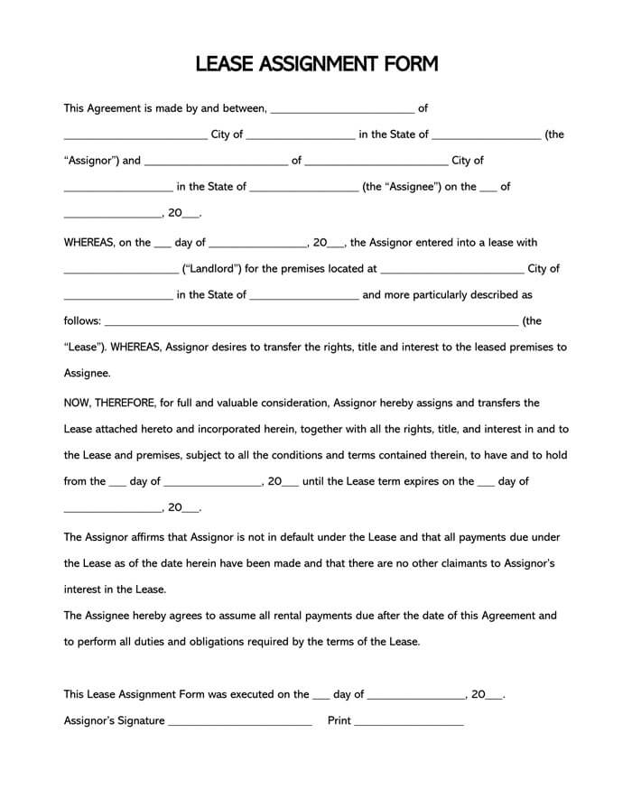 Landlords and property managers use riders to clarify and add lease terms to lease agreements so that tenants fully understand their r. Free Assignment Of Lease Form Template Word Pdf