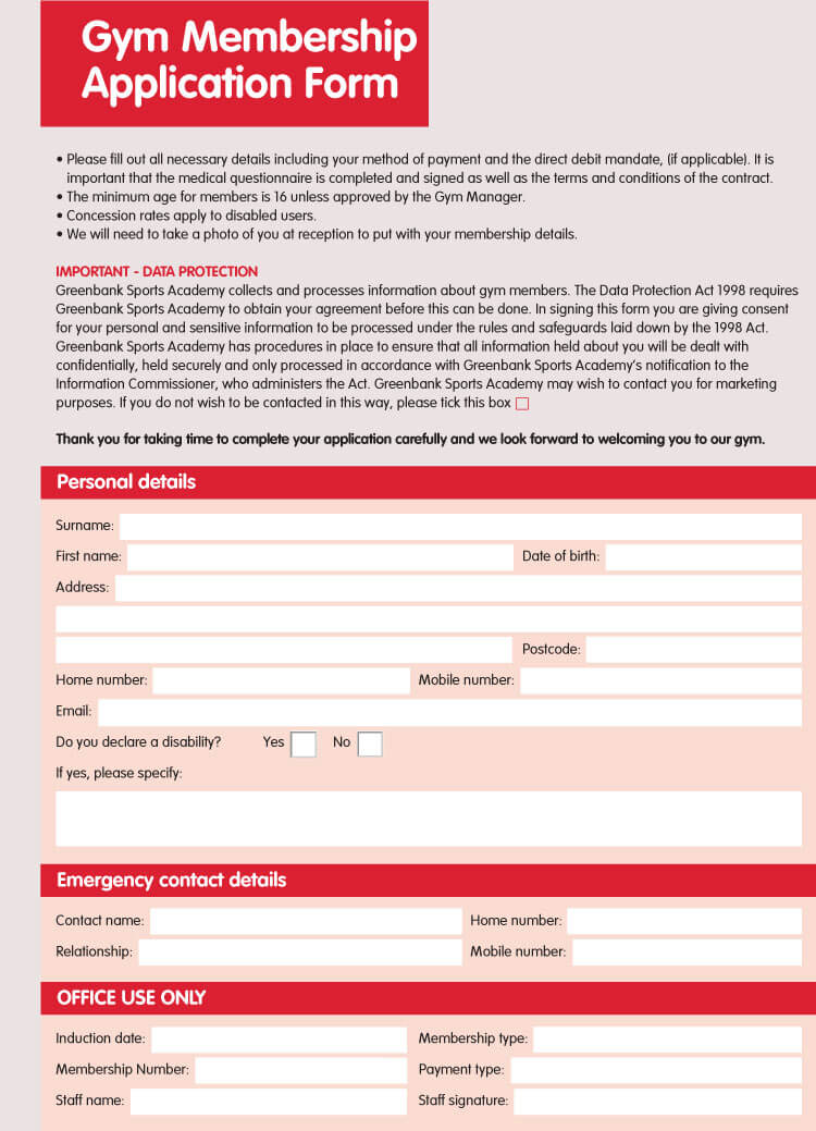 6 Best Examples Of Membership Application Forms With Free