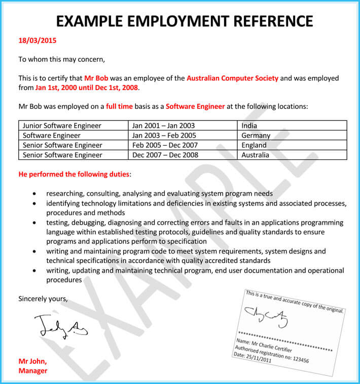 Reference Letters for Human Resource 15 Samples with