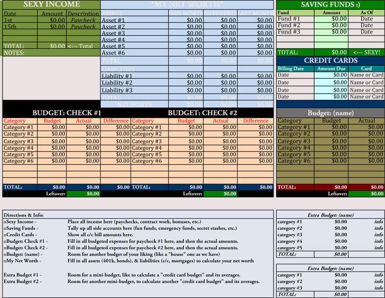 personal finances budget template