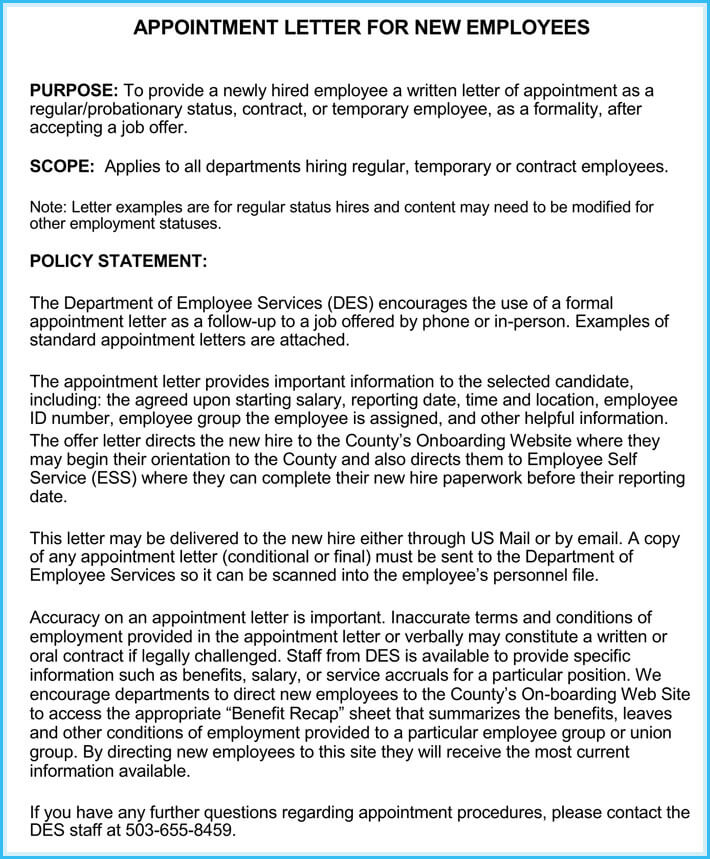 samples of appointment letter for an employee