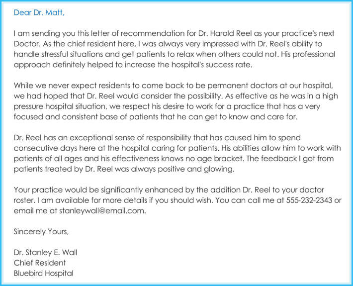 sample of letter of recommendation for work