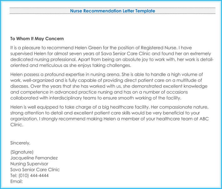 recommendation letter signature