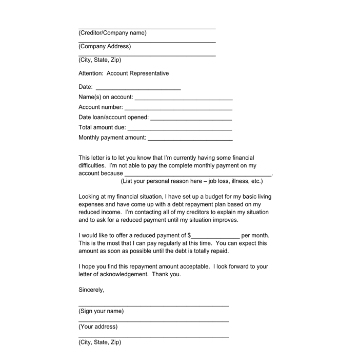 sample letter to creditors unable to pay