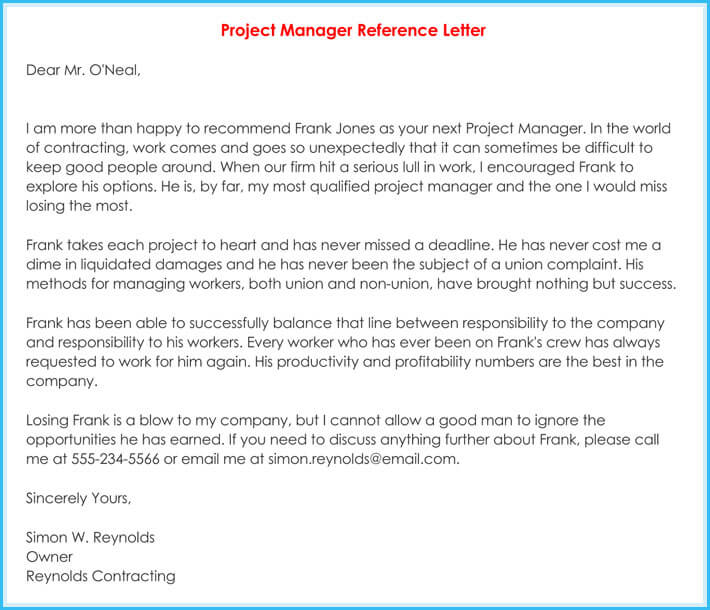 letter of recommendation for sales manager