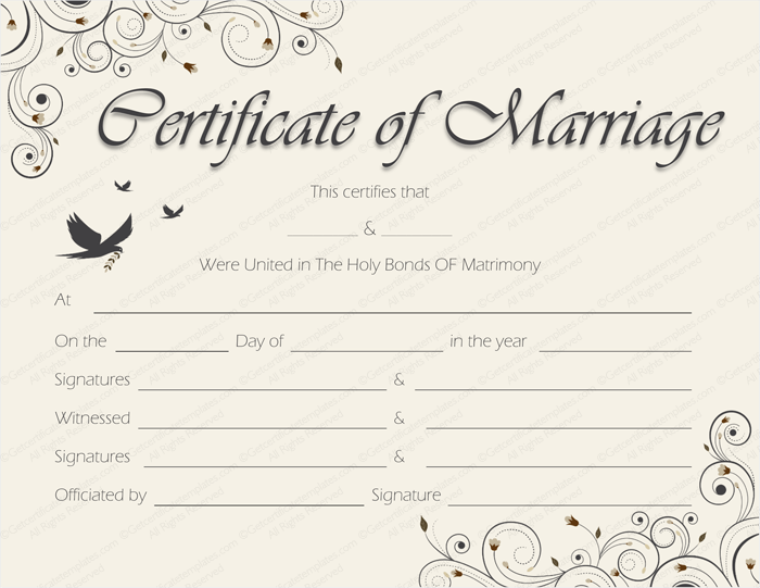 printable marriage license template