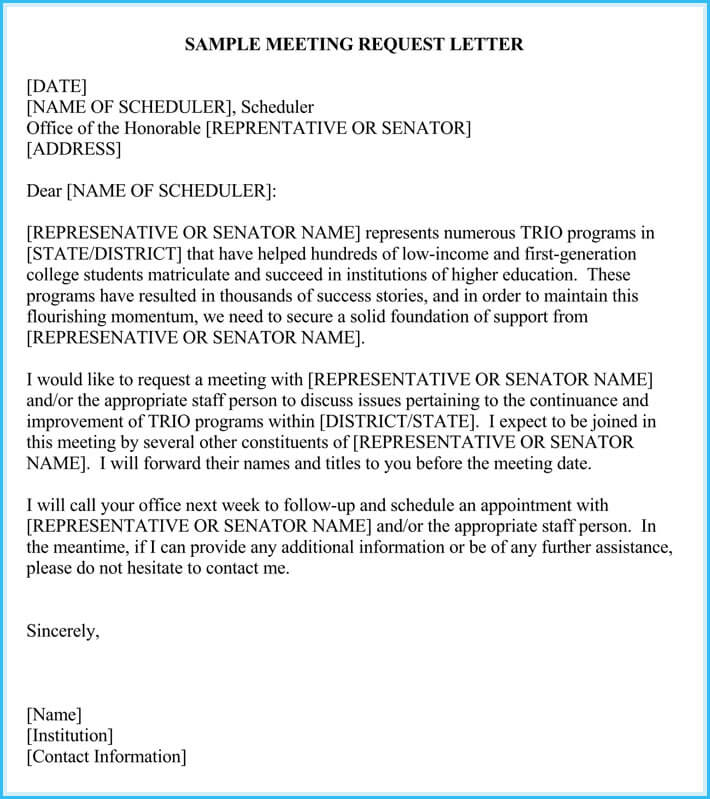 How To Write A Letter Requesting A Meeting Sample Sample