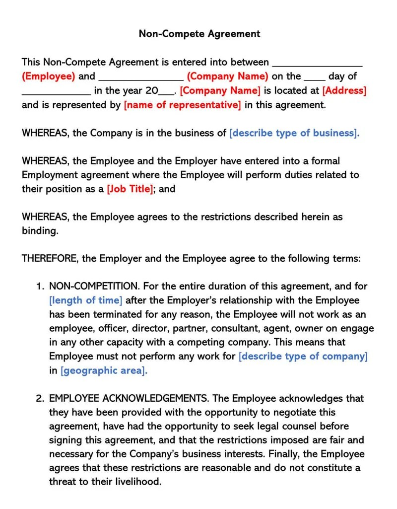 This form can also be used if an employee is set to leave the company with trade secrets or highly sensitive information. Free Employee Non Compete Agreement Templates Word Pdf