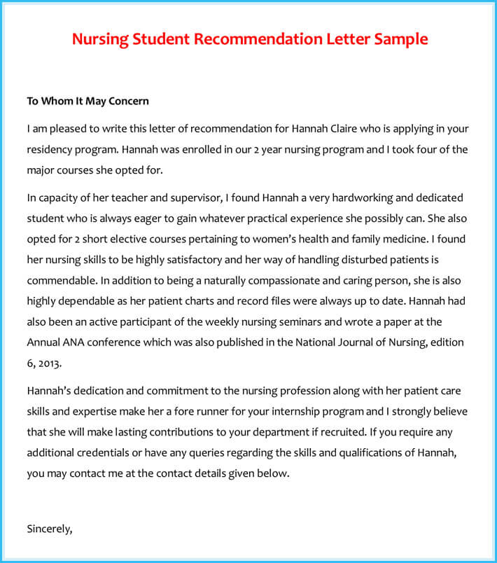general recommendation letter for student