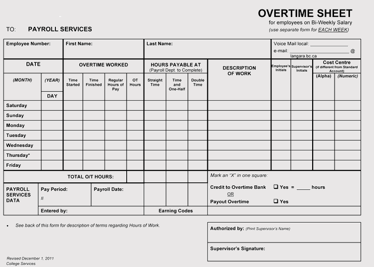 Overtime Sheet Templates (Weekly & Monthly) for Excel